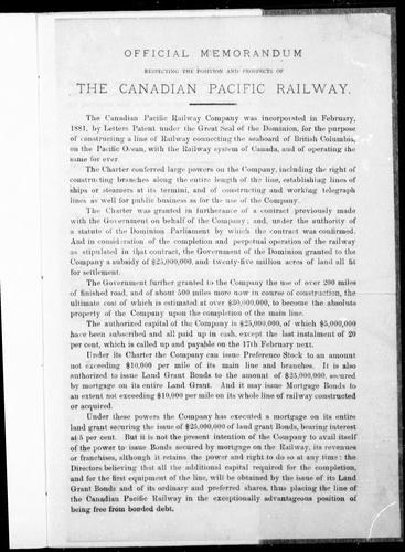 Official memorandum respecting the position and prospects of the Canadian Pacific Railway