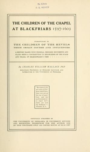 Download The children of the chapel at Blackfriars, 1597-1603