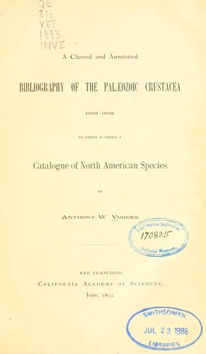 Download A classed and annotated bibliography of the Paleozoic Crustacea 1698-1892