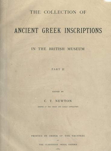 Download The collection of ancient Greek inscriptions in the British Museum