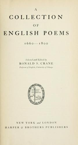 Download A collection of English poems, 1660-1800