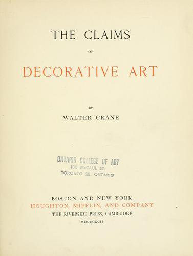 Download The claims of decorative art