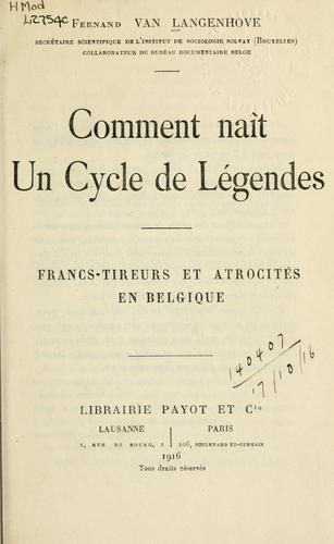 Download Comment naît un cycle de légendes