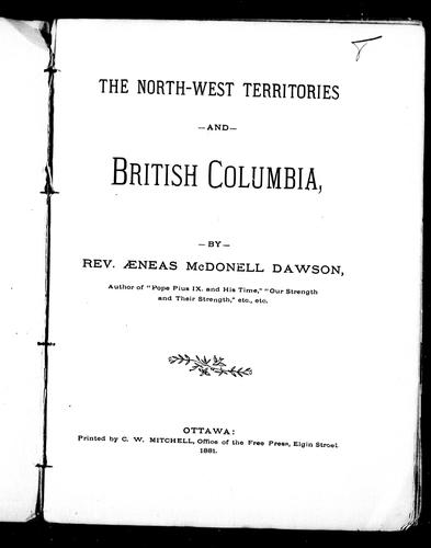 Download The North-West Territories and British Columbia