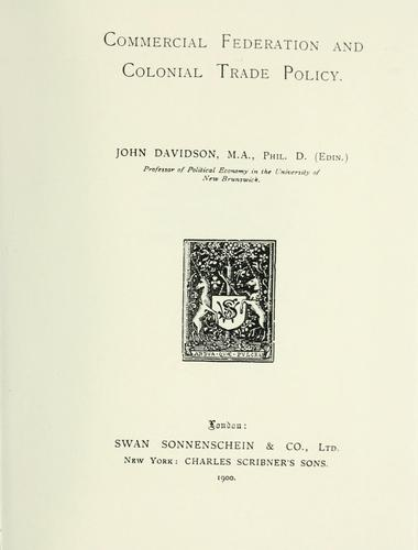Download Commercial federation and colonial trade policy.