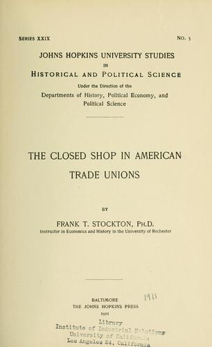 Download The closed shop in American trade unions