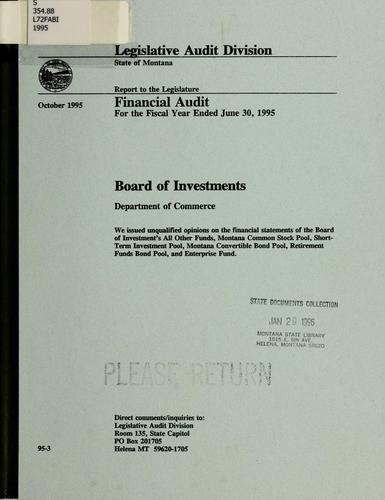 Board of Investments, Department of Commerce, financial audit for the fiscal year ended June 30 …