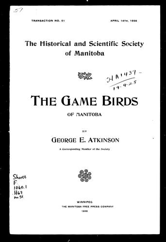 The game birds of Manitoba