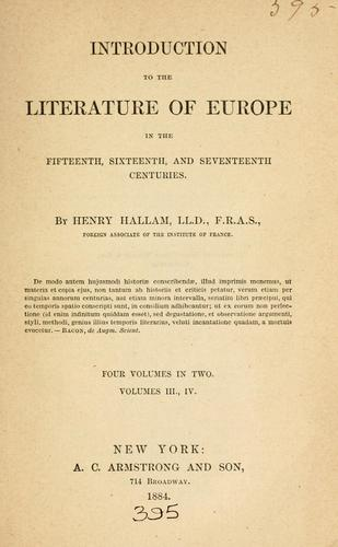 Introduction to the literature of Europe in the fifteenth, sixteenth, and seventeenth centuries.