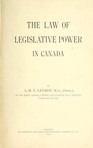 Download The law of legislative power in Canada