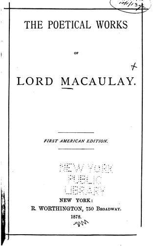 The Poetical Works of Lord Macaulay