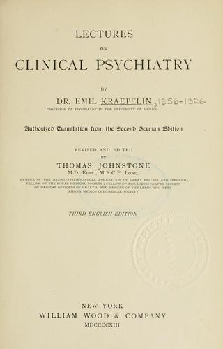 Download Lectures on clinical psychiatry