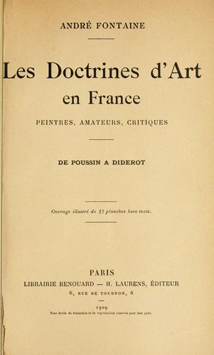 Les doctrines d'art en France by André Fontaine