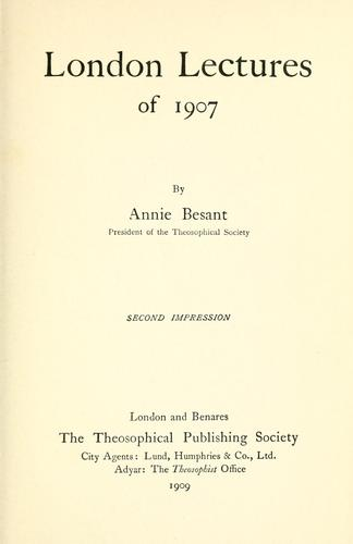London lectures of 1907.
