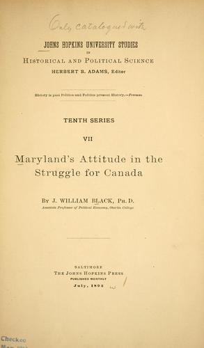 Download Maryland's attitude in the struggle for Canada.