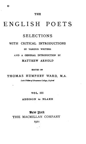 The English Poets: Selections with Critical Introductions