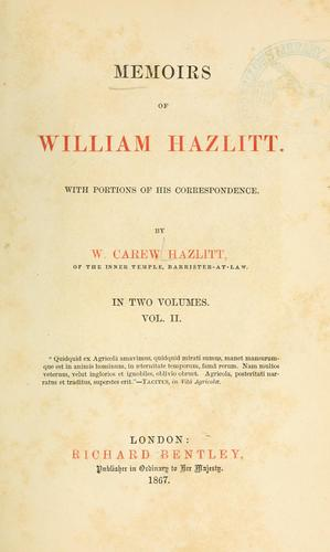 Memoirs of William Hazlitt.
