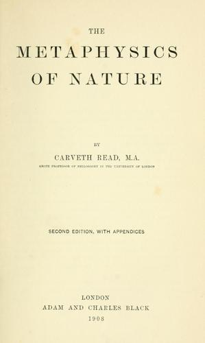 Download The metaphysics of nature.
