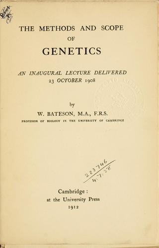 Download The methods and scope of genetics.
