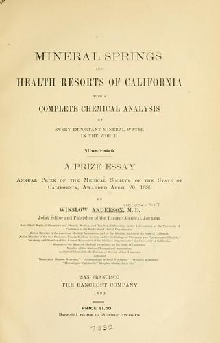 Mineral springs and health resorts of California