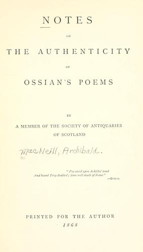 Notes on the authenticity of Ossian's poems