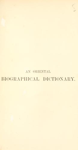 Download An oriental biographical dictionary.