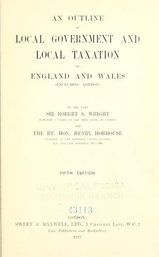 Download An outline of local government and local taxation in England and Wales (excluding London)