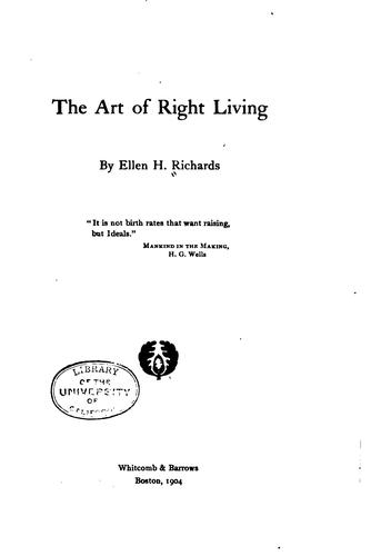 Download The art of right living …