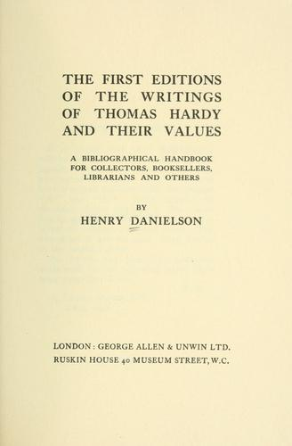 Download The first editions of the writings of Thomas Hardy and their values