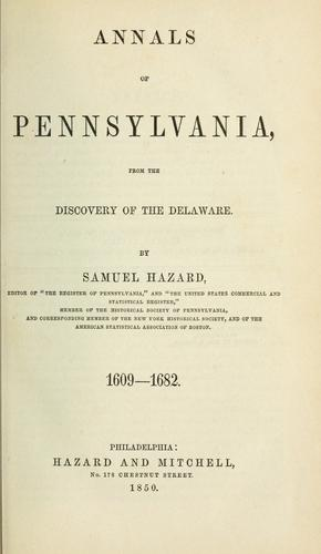 Download Annals of Pennsylvania, from the discovery of the Delaware