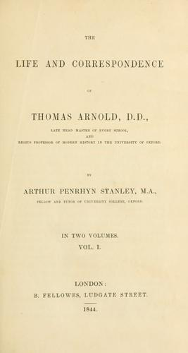 Download The life and correspondence of Thomas Arnold, D.D.