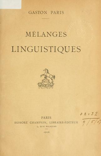 Download Mélanges linguistiques.