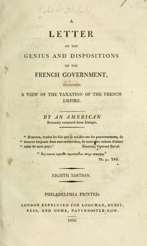 Download A letter on the genius and dispositions of the French government
