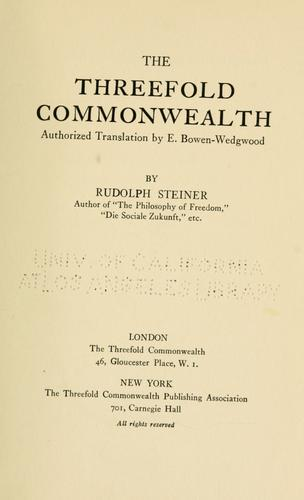The threefold commonwealth by Rudolf Steiner