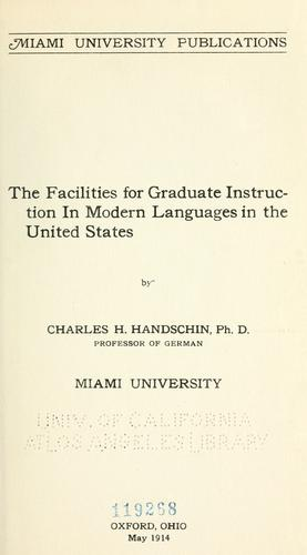 Download The facilities for graduate instruction in modern languages in the United States