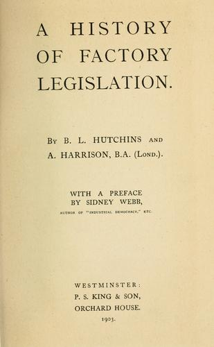 Download A history of factory legislation.