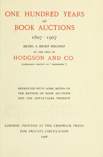 One hundred years of book auctions, 1807-1907