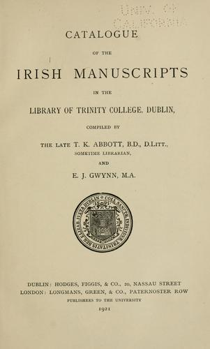 Download Catalogue of the Irish manuscripts in the Library of Trinity college, Dublin