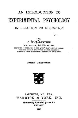 An introduction to experimental psychology in relation to education