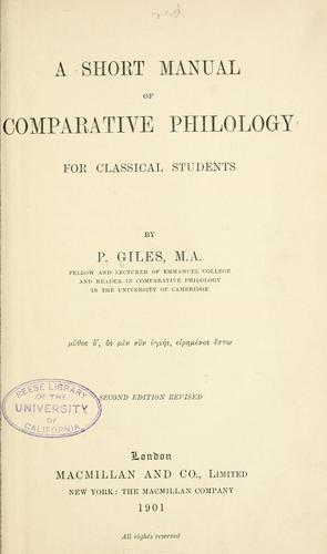 Download A short manual of comparative philology for classical students