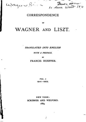 Download Correspondence of Wagner and Liszt