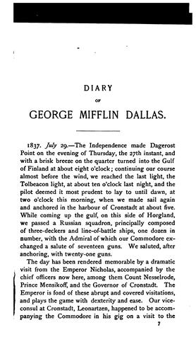 Download Diary of George Mifflin Dallas, while United States minister to Russia 1837-1839, and to England 1856 to 1861