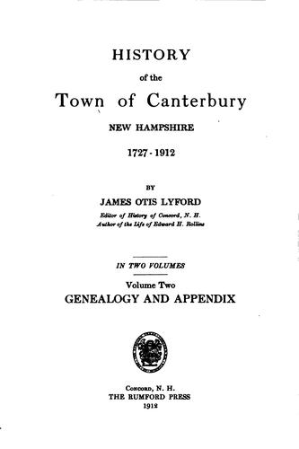 Download History of the town of Canterbury, New Hampshire, 1727-1912