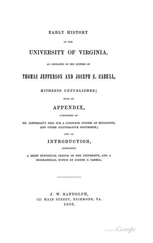 Download Early history of the University of Virginia