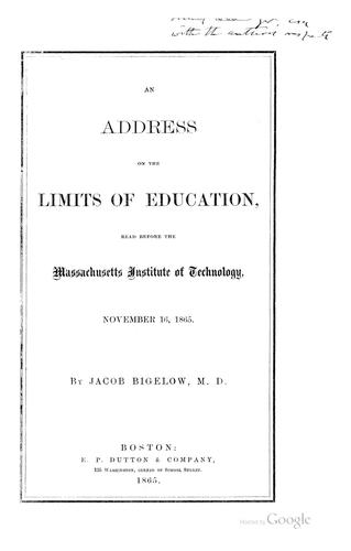 Download An address on the limits of education