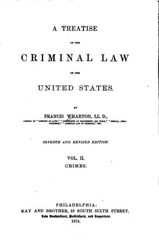Download A treatise on the criminal law of the United States