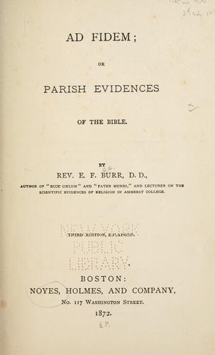 Download Ad fidem; or, Parish evidences of the Bible