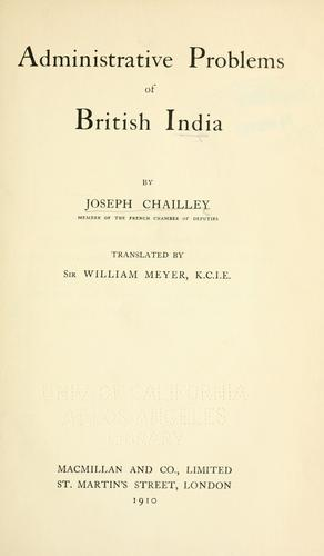 Download Administrative problems of British India