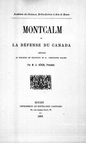 Download Montcalm et la défense du Canada