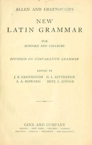 Download Allen and Greenough's New Latin grammar for schools and colleges